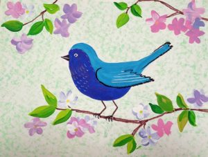 Middle school art painting spring bird