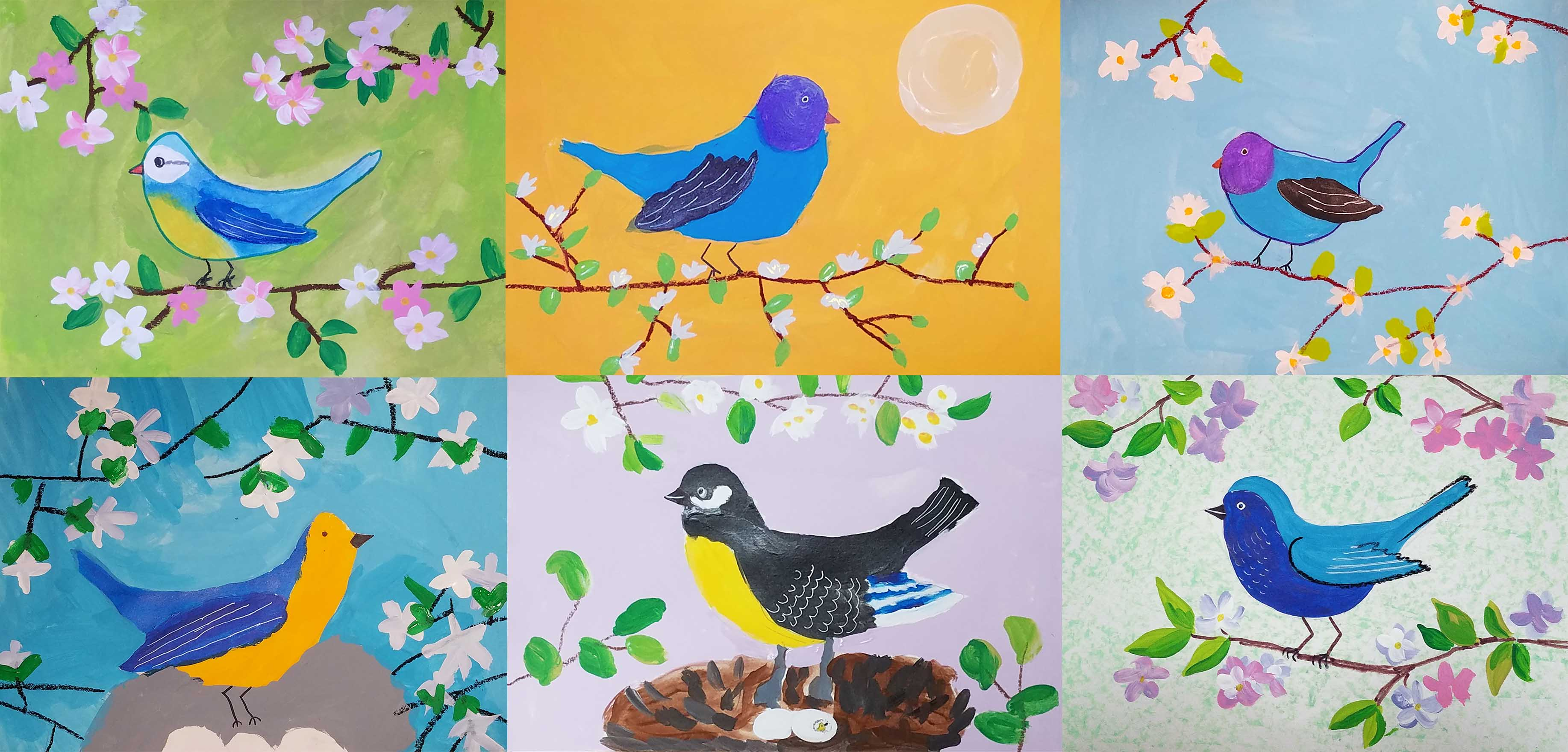 kids painting spring birds