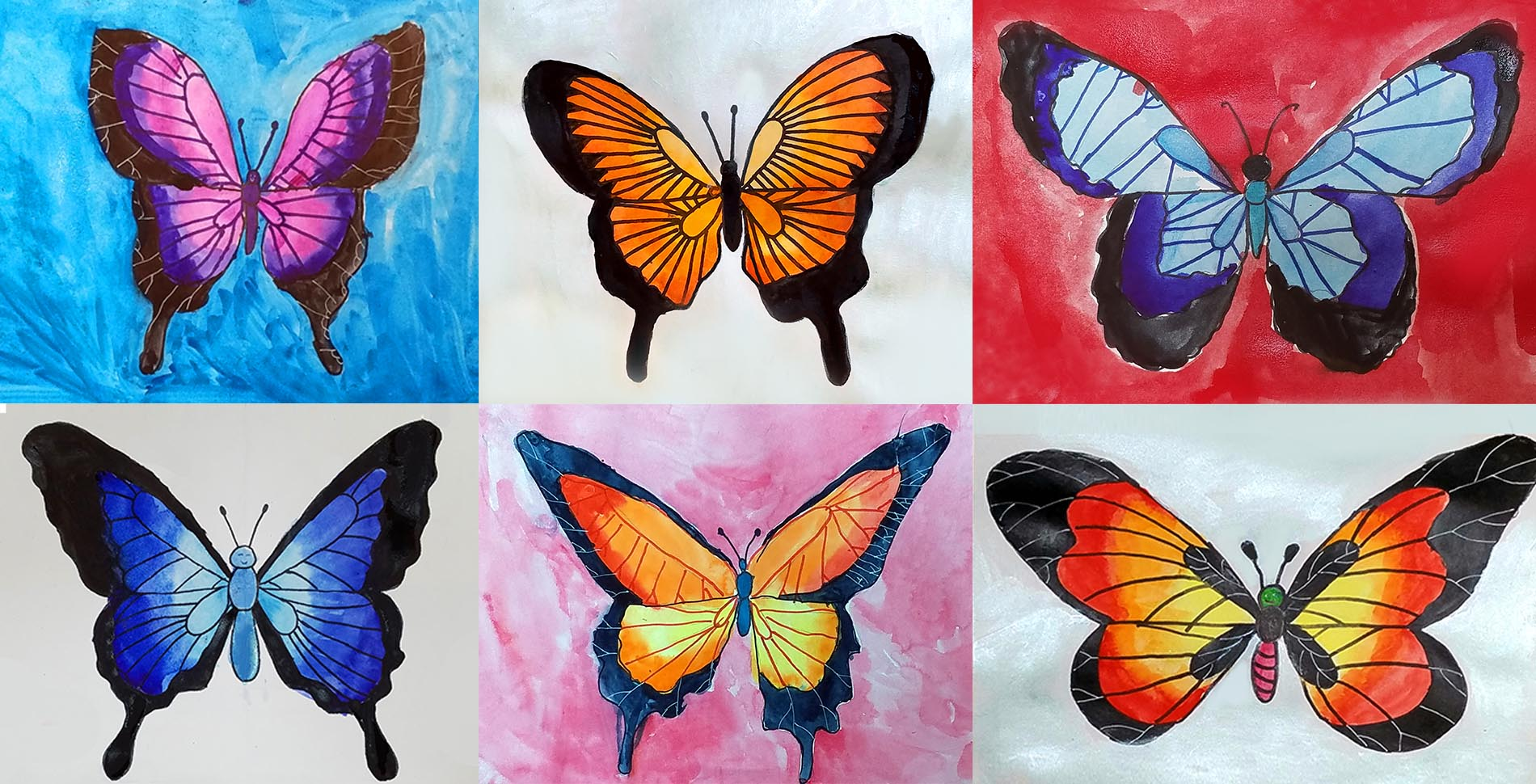 kids painting butterfly